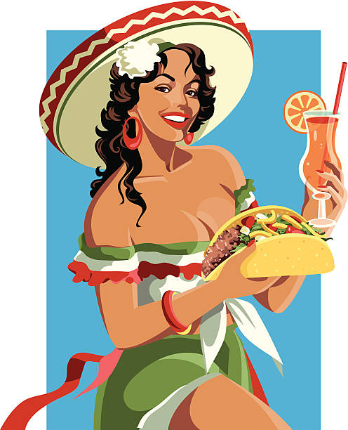 Mexican Pinup Retro style mexican girl pin up girl stock illustrations