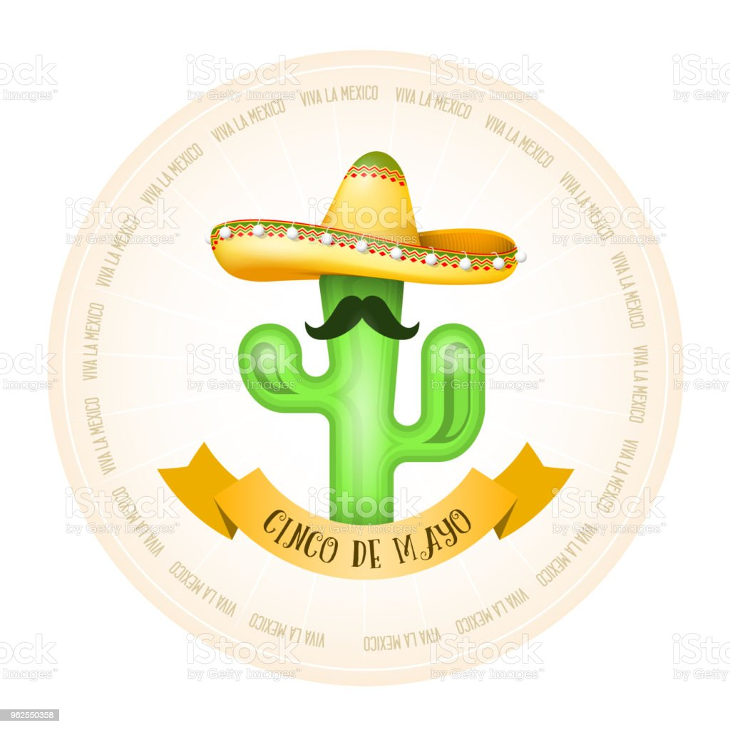 Cartaz mexicano - cacto com bigode no sombrero - Vetor de Bigode royalty-free