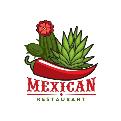 Mexican restaurant icon, red pepper, agave cactus