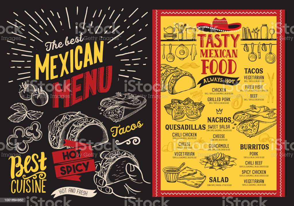 mexican restaurant menu on blackboard background vector