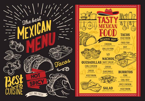 mexikanisches restaurant menü auf tafel hintergrund. vektor-essen-flyer für bar und café. design-vorlage mit vintage handgezeichnete illustrationen. - mexikanisches essen stock-grafiken, -clipart, -cartoons und -symbole