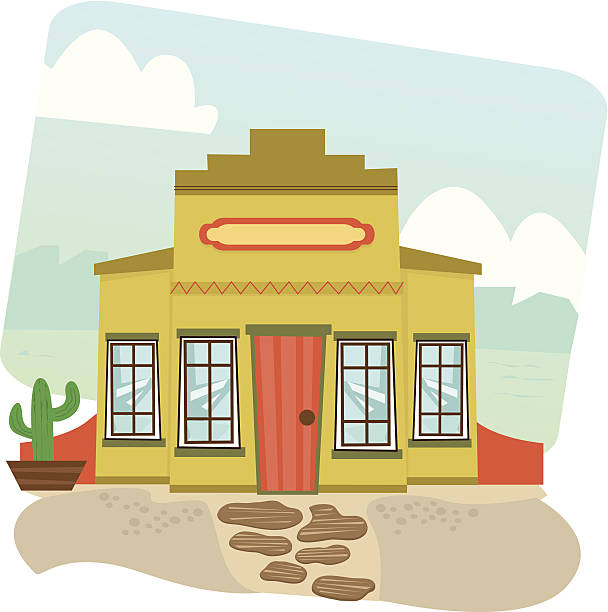Mexican Restaurant Cartoon illustration of a Mexican restaurant and landscape in the background. Eps10 mexican restaurant stock illustrations
