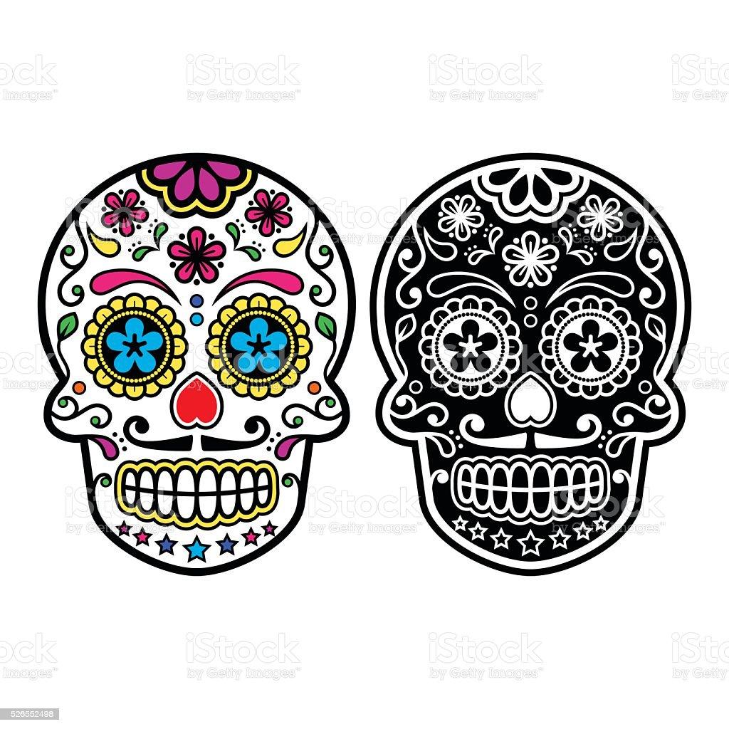 Mexican retro sugar skull, Dia de los Muertos icons set vector art illustration