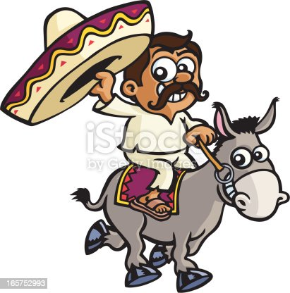 A cartoon mexican is riding a donkey and waving at you with his sombrero.