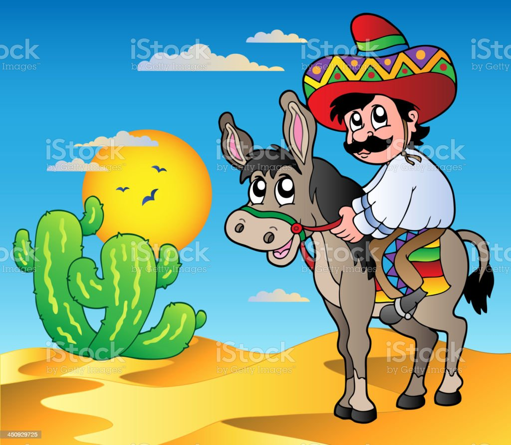 Mexican riding donkey in desert royalty-free stock vector art