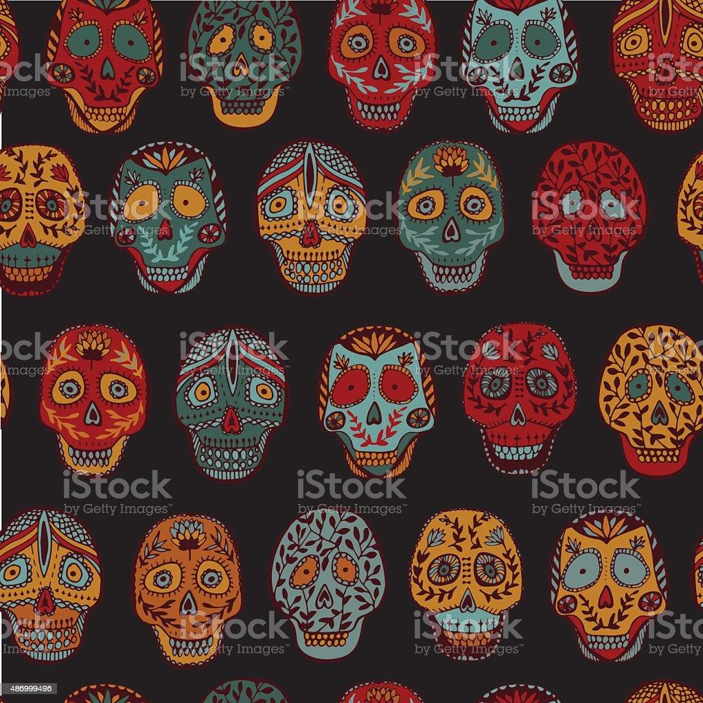 Mexican scull vector art illustration