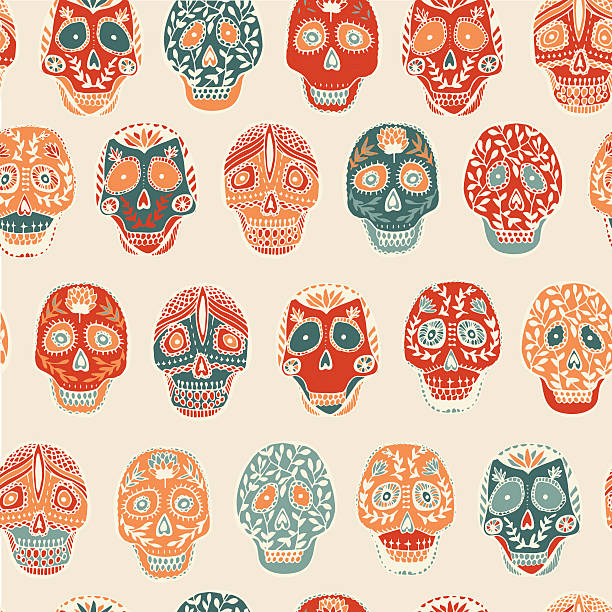 Mexican scull Mexican scull pattern in vector. Mexican traditional skull pattern seamless. Scull T-shirt design with floral ornament. mexican restaurant stock illustrations