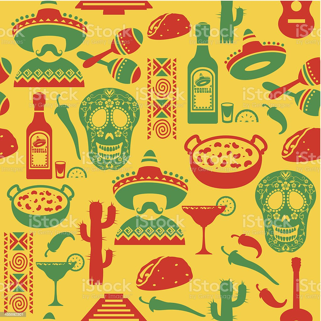 Mexican Seamless Pattern vector art illustration
