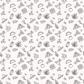 Original seamless pattern with traditional symbols of Mexico. Vector illustration of sombrero, volcano, pyramid, tequila, cactus on a light background in liner style