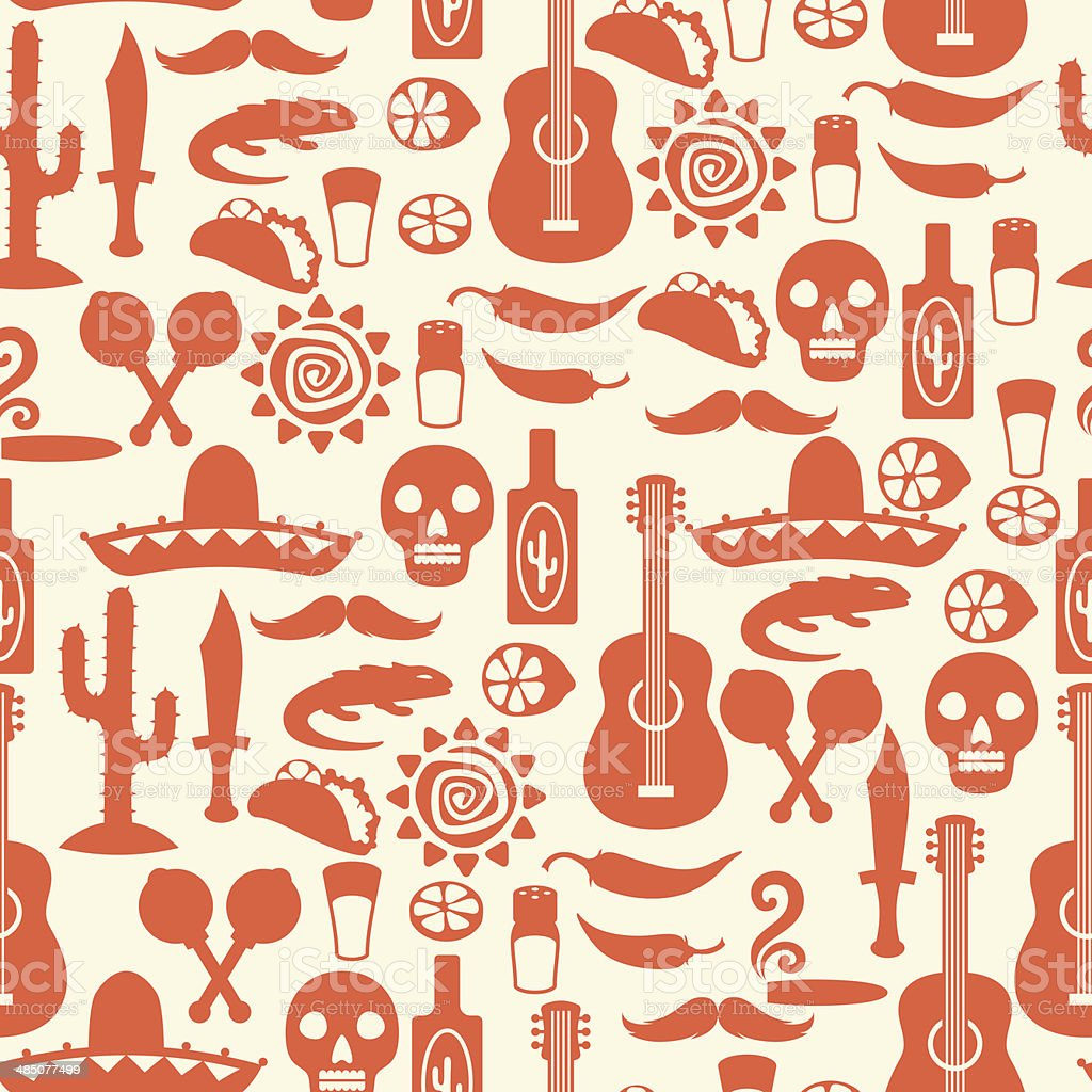 Mexican seamless pattern with icons in native style. vector art illustration