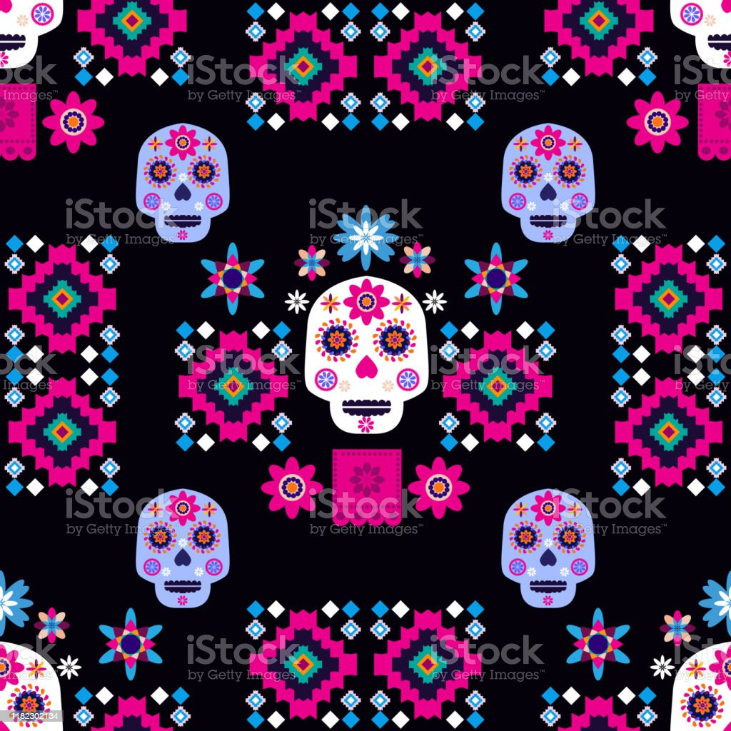 Mexican Seamless Pattern With Sugar Skulls Stock Illustration Download Image Now Istock