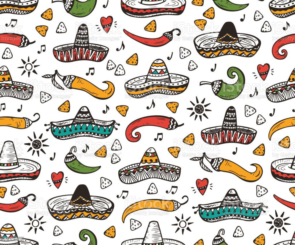 Mexican Seamless patterns. Mexico Vector background. Hand drawn doodle  Mexican Sombrero 430c9717c65
