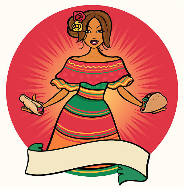 Mexican Senorita A young mexican woman with tacos and burritos.  female sandwich stock illustrations