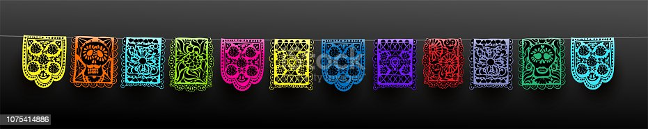 Mexican set of bunting for Day of the Dead. Dia de los Muertos. Hand drawn. For your design horizontal web banner. Vector illustration. Isolated on black background.
