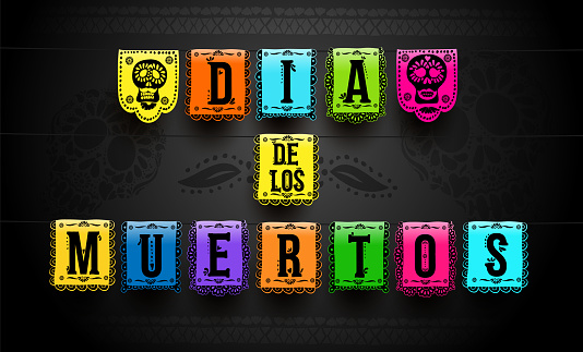 Mexican set of bunting for Day of the Dead. Dia de los Muertos. Hand drawing. For your design horizontal web banner, poster. Vector illustration. Isolated on black background.