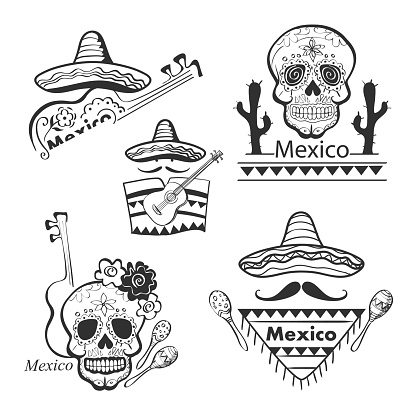 Mexican set of labels and stickers with icons