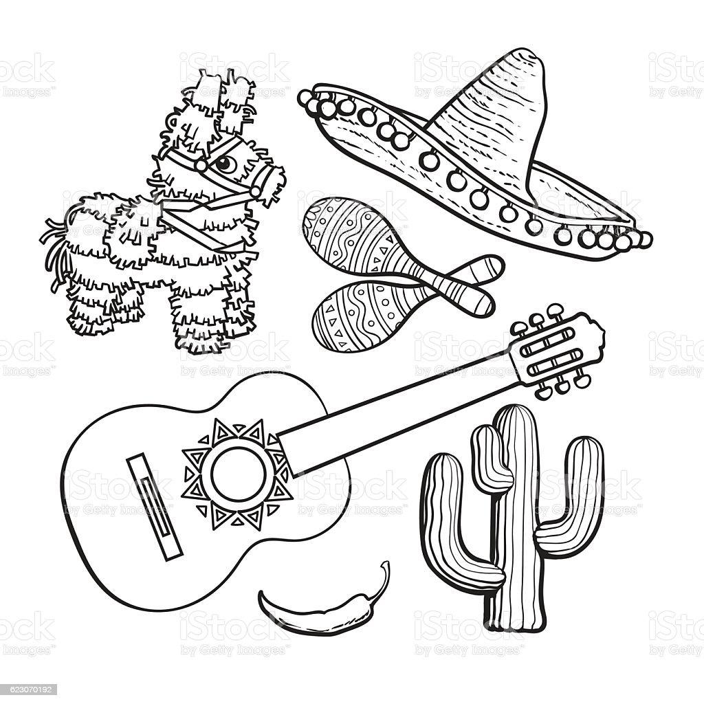 Mexican set sombrero, pinata, maraca, cactus, chili and spanish guitar vector art illustration