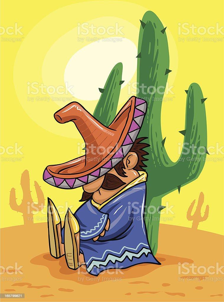 mexican siesta in the desert vector art illustration
