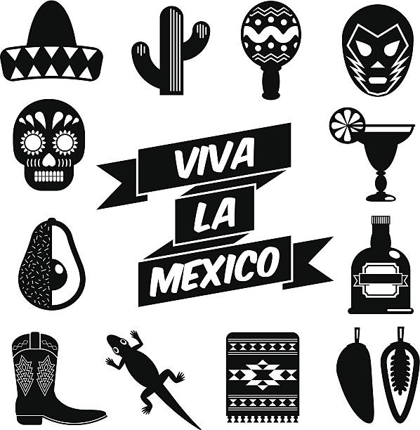 mexican silhouettes set of mexican themed silhouette icons, isolated on white avocado silhouettes stock illustrations