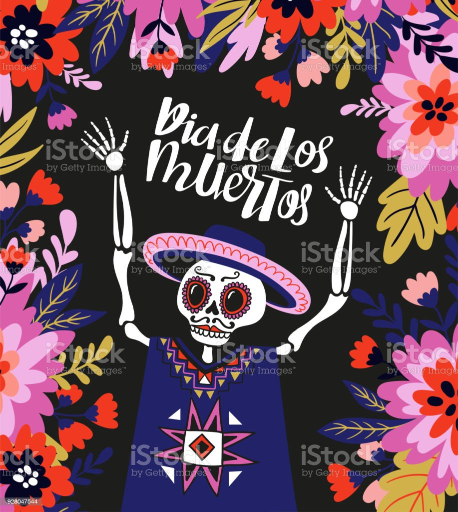 Mexican Skeleton In The Floral Frame With Lettering Vector Holiday