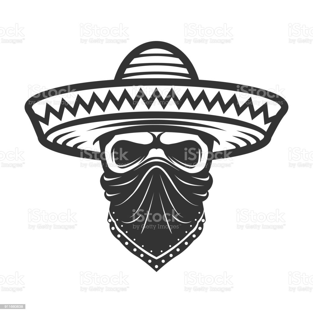 Mexican skull in sombrero. Bandit with hat and bandanna vector art illustration