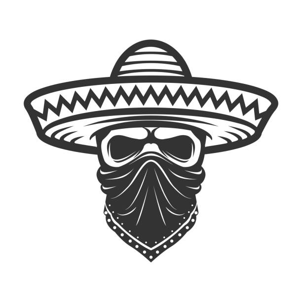 Mexican skull in sombrero. Bandit with hat and bandanna Mexican skull in sombrero. Bandit with hat and bandanna bandit stock illustrations