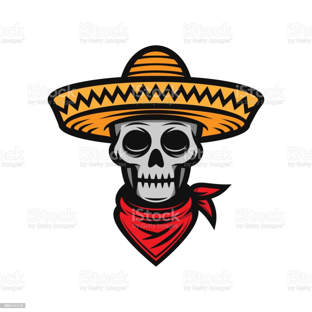 Ilustración De Mexicana Cráneo En Sombrero De Ala Ancha Y Más Banco