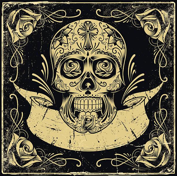 Mexican Skull vector art illustration