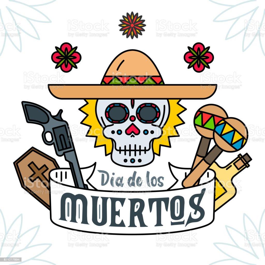 Ilustración De Calavera Mexicana Con Maracas Sombrero Y Pistola Día
