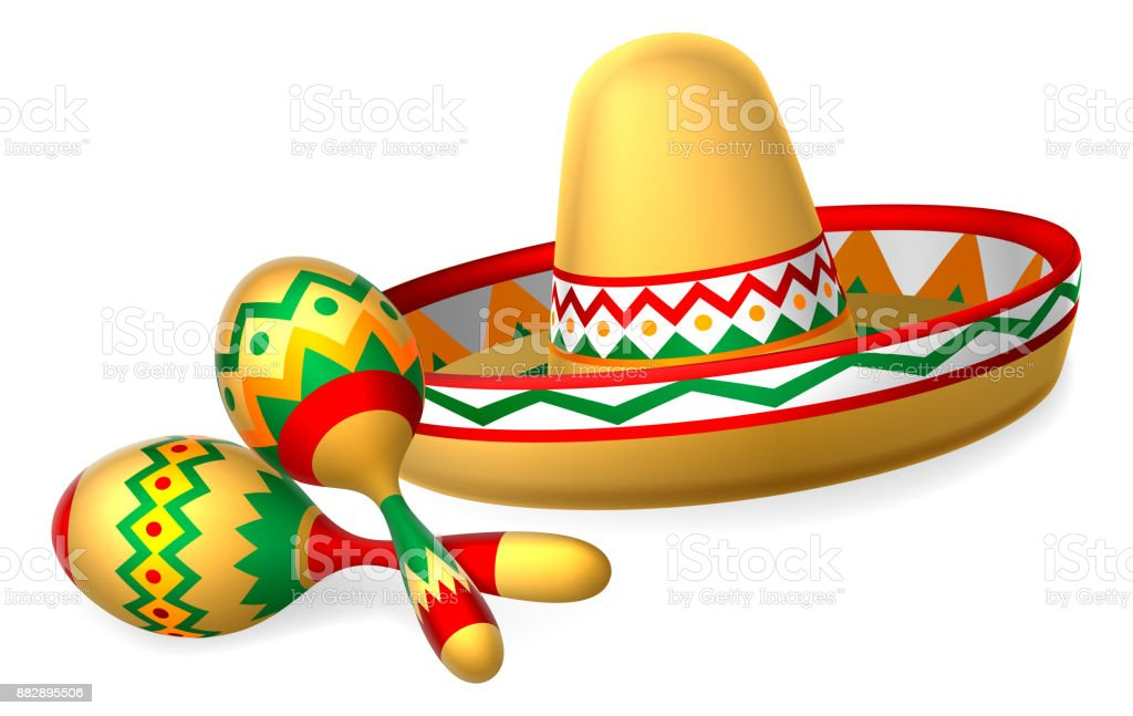 Mexican Sombrero Hat and Maracas Shakers vector art illustration