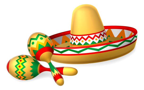bildbanksillustrationer, clip art samt tecknat material och ikoner med mexikanska sombrero hatt och maracas shakers - spain solar
