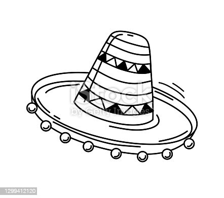 Mexican sombrero hat on a white background. A design element. Icon. Vector contour illustration.