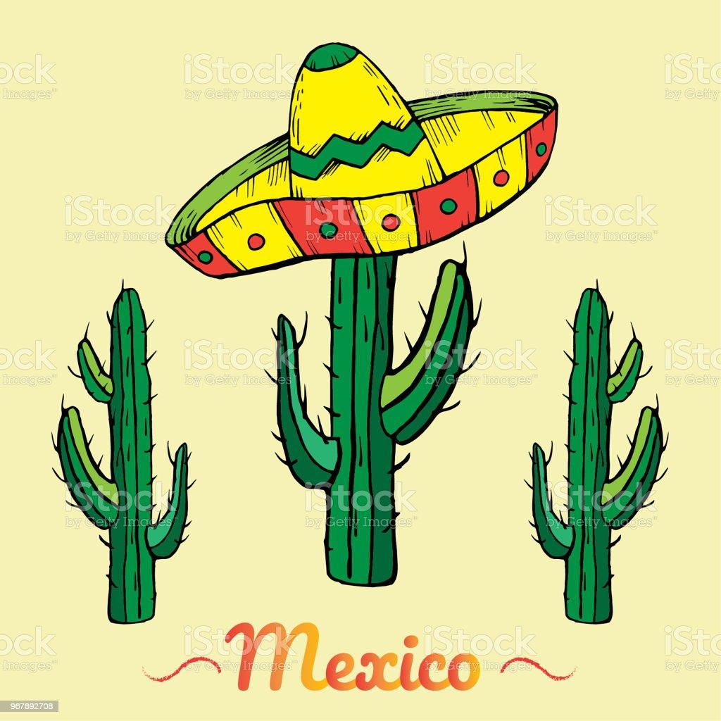 c8d903cc8413f Chapéu sombrero mexicano com cactus verde sobre fundo claro vetor de chapéu  sombrero mexicano com cactus