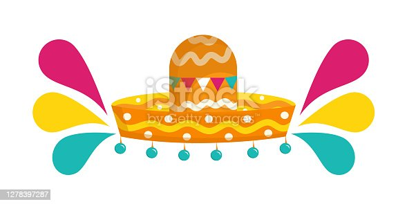 istock Mexican sombrero isolated on a white background. Vector illustration in flat cartoon style. Accessory for the festival with bells and bright splashes.. 1278397287
