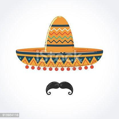 istock Mexican Sombrero with Mustache 915934116