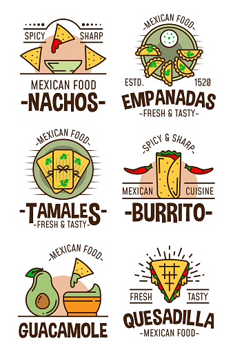 Mexican spicy food restaurant cafe icons and signs