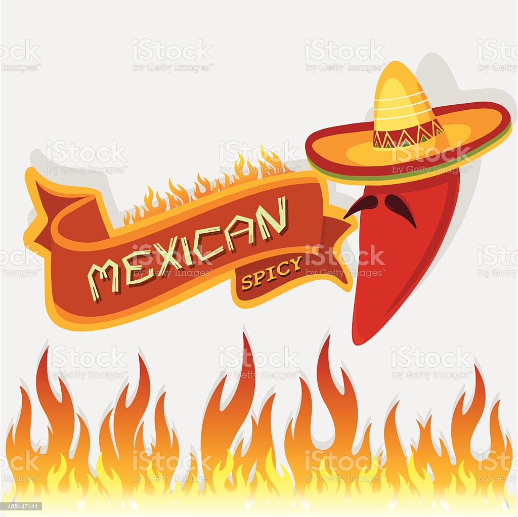 mexican spicy vector art illustration