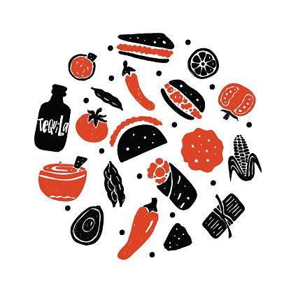 Mexican street food. Illustration of different mexican food in circle. Vector.