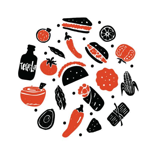 mexikanische street-food. illustration verschiedener mexikanischer speisen im kreis. vektor. - mexikanisches essen stock-grafiken, -clipart, -cartoons und -symbole
