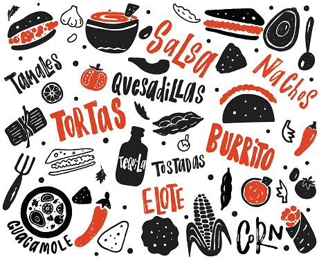 Mexican street food illustration with hand drawn lettering and elements. of different mexican dishes.