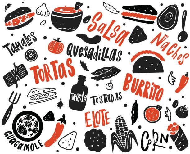 stockillustraties, clipart, cartoons en iconen met mexicaanse street food illustratie met de hand getekend belettering en elementen. van verschillende mexicaanse gerechten. - eetklaar