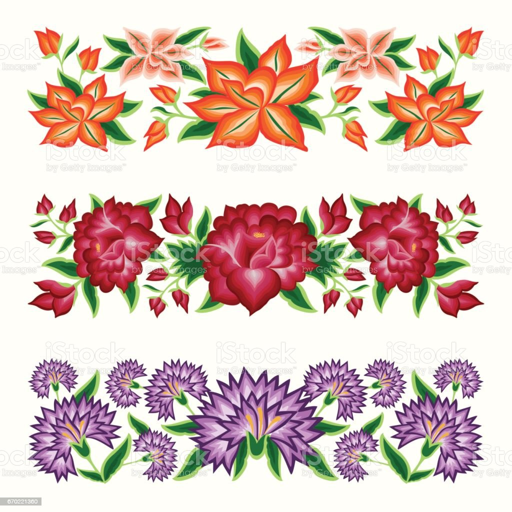 mexican style floral borders stock vector art more images of arts rh istockphoto com floral border vector ai floral border vector bing