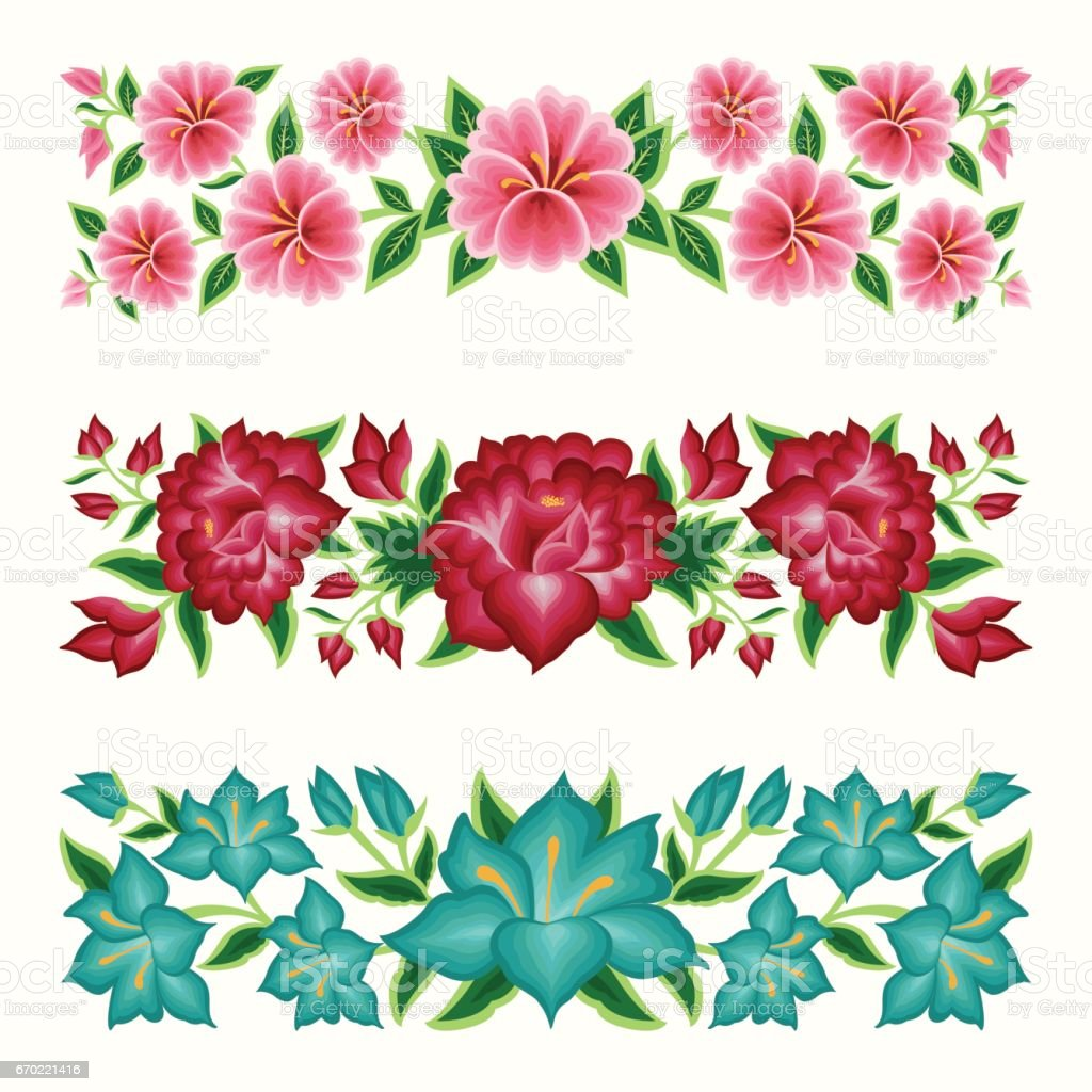 Mexican Style Floral Borders Royalty Free Stock Vector Art Amp