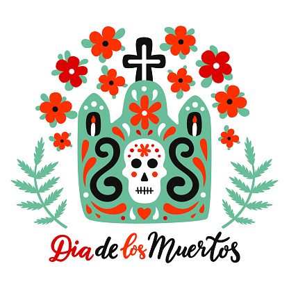 Mexican style ornate tomb illustration with cross, skull, flourishes, red flowers and green leaves.