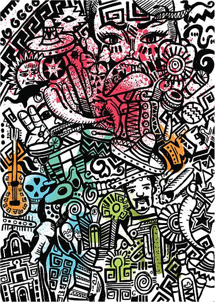 Motif de style mexicain - Illustration vectorielle
