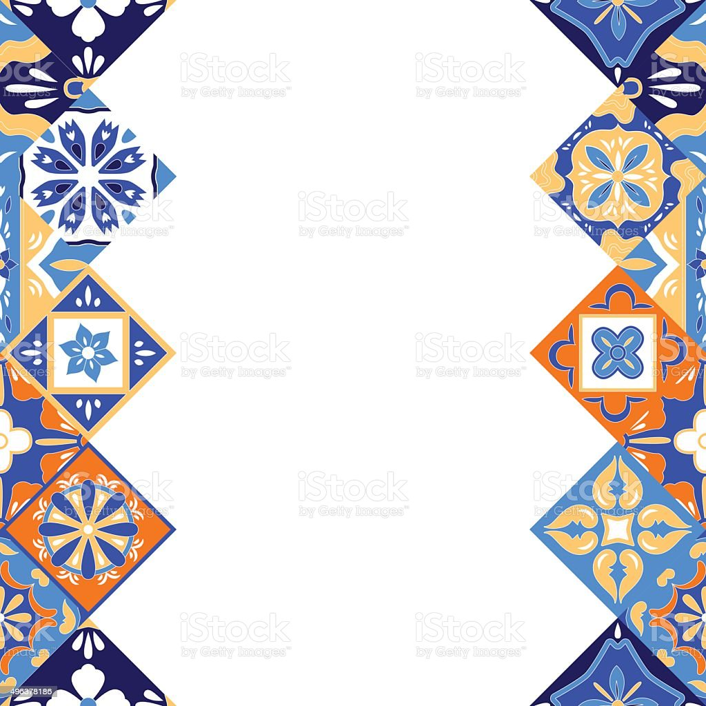 mexican stylized talavera tiles seamless border in blue orange and royalty free mexican stylized talavera