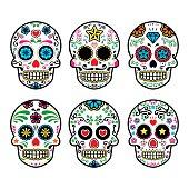 Mexican sugar skull, Dia de los Muertos icons