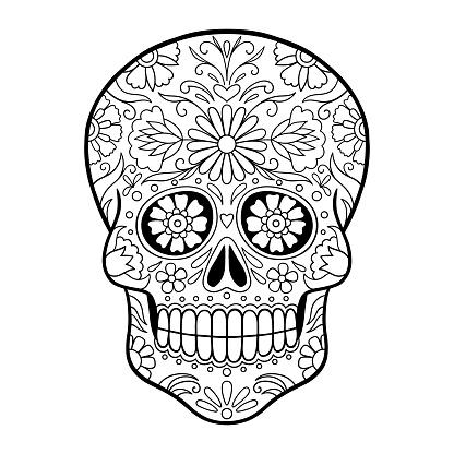 Mexican sugar skull, Dia de los Muertos. Sugar Skull With Doodle Floral Pattern