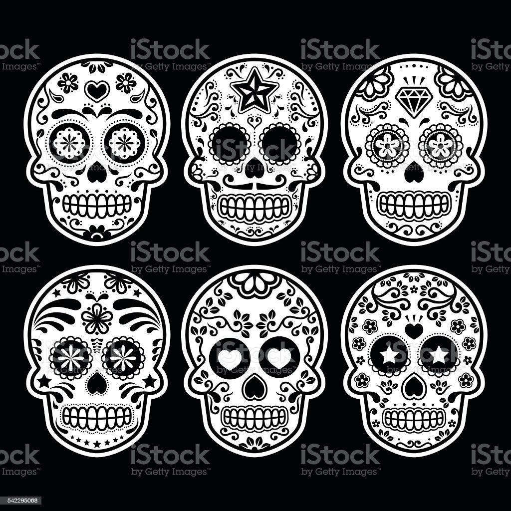 Mexican sugar skull icons set on black vector art illustration