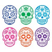 Mexican sugar skull icons set